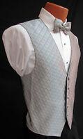 Men's Silver Spectrum Fullback Tuxedo Vest & Tie Wedding Prom *Made in USA*