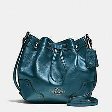 Coach Gathered Leather Baby Mickey Drawstring Metallic Blue Bag F35363 $350 NWT