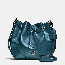 Coach Gathered Leather Baby Mickey Drawstring Metallic Blue Bag F35363 $350 NWT