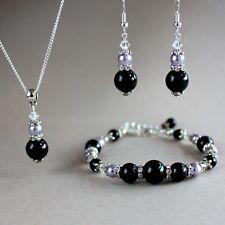 Vintage black lilac mauve purple pearls silver wedding bridesmaid jewellery set
