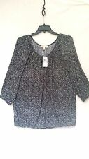 NWT Michael Kors 2X Printed Peasant Top Black White Oversized NEW Cat Rescue