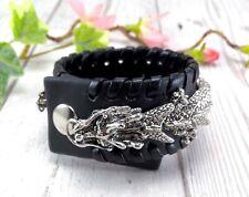 Leather Articulated Dragon Cuff Bracelet - Alchemy Gothic