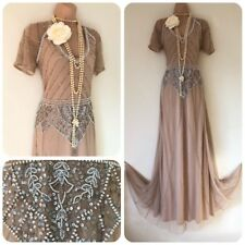 Sequin beaded Embellished Flapper 20's Gatsby Dress Cruise Long 8 -16 Christmas
