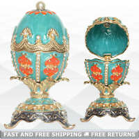 Faberge Egg Shaped Vintage Hinged Lid Bejeweled Jewelry Trinket Box Ring Holder