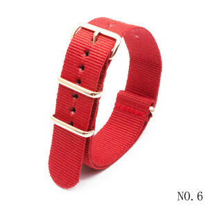 Sport Nylon Watch Band 18 20 22 24MM with Stainless Steel Rose Gold Pin Buckle