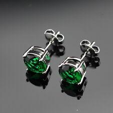 Dipped 925 Sterling Silver Dark Green Stud Earrings  Emerald round Butterfly