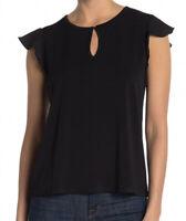 NWT Catherine Malandrino Women's Ruffle Sleeve Front Keyhole Blouse Black Size L