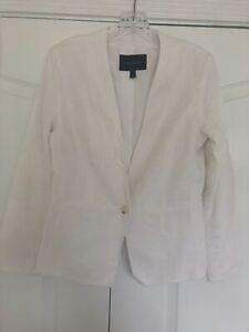 Banana Republic White Linen Lined 3/4 Sleeve Blazer Size 4