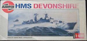 Sealed vintage Airfix 1:600 scale HMS Devonshire plastic model kit