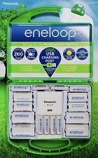 Eneloop Panasonic Charger USB Port & Rechargeable Batteries Kit, 6 AA & 4 AAA,