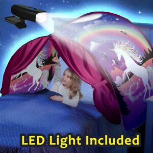 Kids Dream Bed Tents with LED Light Included Boys Girls Night Sleeping Foldable