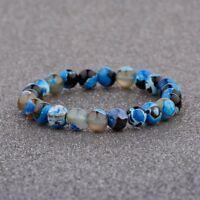 8MM Man Wowan Fashion Mini blue Beaded Cuff Charm Bangle Natural Stone Bracelet