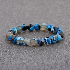 8MM Man Wowan Fashion Mini blue Beaded Cuff Charm Bangle Stone Natural Bracelet
