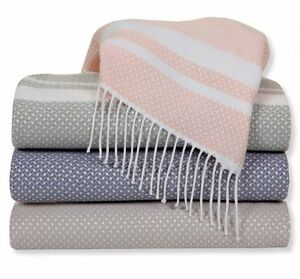 Sferra NIA Throw Blanket Petal Pink Wool Silk Cashmere Blend Fringed Italy New