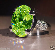 925 Silver Filled Peridot Size 9 Birthstone Wedding Gemstone Engagement Ring 359