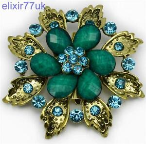 "FAB 2.36"" LARGE BLUE OR RED BROACH RHINESTONE CRYSTAL FLOWER LEAF BROOCH WEDDING"