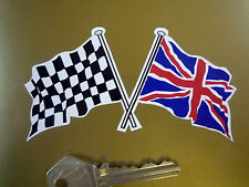 "Crossed Union Jack & Chequered Flag Car Stickers 4""Pair Britain Race Bike Racing"