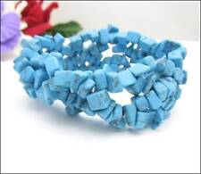 Elastic BLUE Imitation Turquoise Blue Bead STRETCHY Braided BRACELET  Vintage