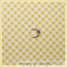 BonEful FABRIC FQ Cotton Quilt Yellow White US Gingham Check Square Block Stripe