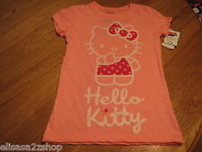 Girls Hello Kitty t shirt White Q870583 Neon Rose L large TEE youth NWT ^^