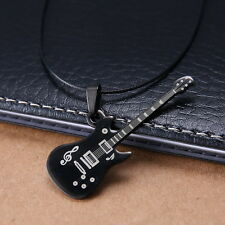 Mens Unisex Stainless Steel Leather Necklace Guitar Music L55