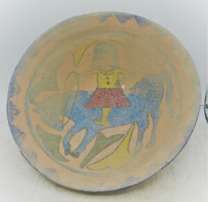 BEAUTIFUL ANCIENT ISLAMIC NEAR EASTERN BYZANTINE ERA GLAZED TERRACOTTA BOWL