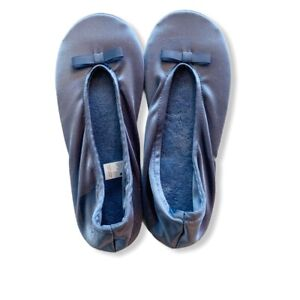 ISOTONER Ballet Style Slippers Light Blue Stretch Satin Size Large (9-10)