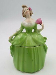 """Antique E & R Ephilia German Madame Pompadour Half Doll Dresser Powder Box 6"""""""