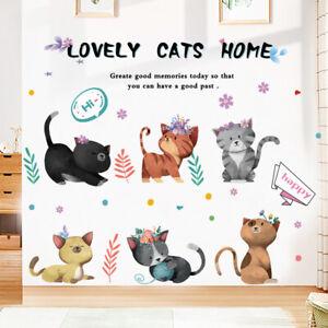 Cartoon Hand Painted Colorful Cats Wall Sticker Fashion Decor Lovley Anim_SG