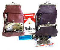 2 COLOR PAIR 100% Leather Cigarette Coin Pouch Fit 100s, King  BURGUNDY+ PURPLE