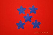 5 Stück Blume blau Samt Flock Applikation zum aufbügeln Flicken Aufnäher Patch