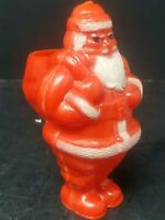 "Vintage Rosbro Hard Plastic Santa Candy Container 4"" Tall Nice Paint"