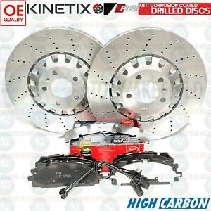 FOR AUDI RS4 B9 RS5 FRONT DRILLED BRAKE DISC APEC PADS WEAR WIRE SENSORS 375mm