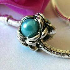 Beautiful SILVER and AQUA BLUE Double Gemstone Bead Fits European Charm Bracelet