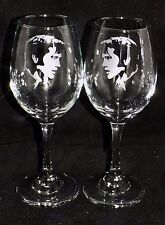 "New Etched ""ELVIS PRESLEY WINE GLASS(ES) - Choose 1 or 2 - Optional Gift Box"