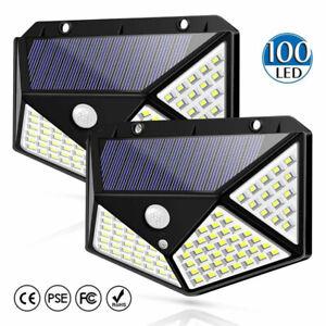 4x 100LED Lampe solaire Projecteur Détecteur Mouvement Jardin Extérieur FR