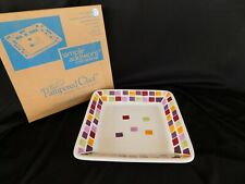 """Pampered Chef 2024 Multicolor Tiles 7-1/4"""""""" sq SALAD PLATE NEW Simple Editions"""