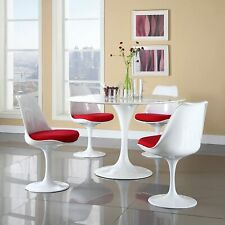 """31.5"""" White Tulip Round Dining Table with 4 Red Pu Chairs Set Mid Century Style"""