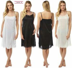 Ladies full slip long petticoat anti static underskirt adjustable ribbon strap