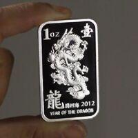 Year Of The Dragon 2012 design, 1 Troy oz  .999 Fine Silver Bar Bullion.  New!