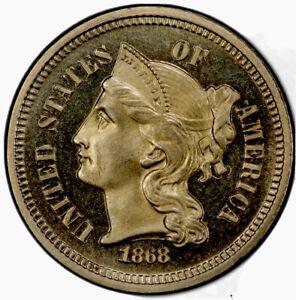 1868 Three Cent Nickel PCGS PROOF 67 CAMEO Pop 4/2 Mintage 600