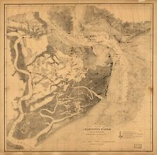 A4 Reprint of Shipping Coast & Seas Map Charleston Harbor South Carolina