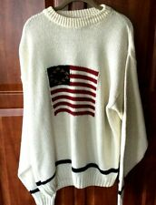 Men's L Sweater Knit Liberty Patriotic Flag  Cotton Vintage  Made in the USA