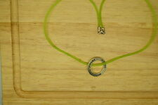 """16"""" GREEN PLASTIC CHAIN 925 STERLING SILVER """"DREAM"""" ENGRAVED PENDANT #X-10329"""