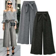 Womens Wide Leg High Elastic Waist Casual Stripe Pants Loose Culottes Trousers