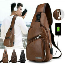New Men's Shoulder Bag Sling Chest Pack USB Charging Sports Crossbody Handbag