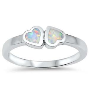 HEARTS ~ Genuine 925 STERLING SILVER RING ~ Lab Opal ~ Size 6 7 8 9 10 / M - U