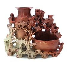 Vintage Hand Carved Chinese Soapstone Birds Flower Brush Pot Double Vase Bowl