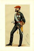 DON CARLOS KING OF SPAIN SMOKING CIGAR IN UNIFORM MEDALS SWORD VANITY FAIR LITHO