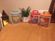 Set Of Three Retro Shabby Cottage Chic Tea Coffee Sugar Tins Cannisters Jars